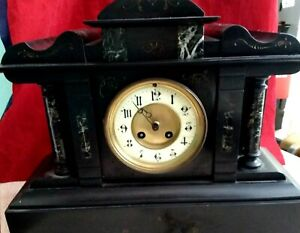 Antique Heavy Slate Marble French Mantle Clock.Pendulum.Working 19Cent.