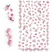 DIY Nail Art Transfer Decals Decor Stickers Pink Plum Blossom 3D Nail Stickers