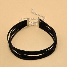 Black Velvet 5 Layer Gothic Ribbon Collar Choker Necklace Jewellery UK Stock