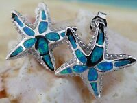 SHINING STAR AMAZING 925 STERLING SILVER BLUE OPAL INLAY STARFISH POST EARRINGS