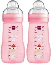 MAM BABY BOTTLE 270ML 2 PACK - PINK Newborn Baby Feeding Milk BN