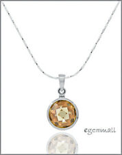 Sterling Silver CZ Round Coin Pendant Champagne Yellow Topaz #65496