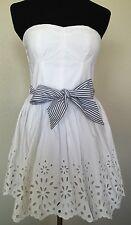 NWT Hollister Womens Strapless Mini Dress Size XS White Eyelet Bow Pretty