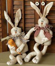 "New Primitive Folk Art Bunny Rabbit Couple Girl Boy Carrot Easter Doll 16"""