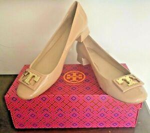 TORY BURCH GIGI US 9 Nude Beige Patent Leather Pumps T Medallion Women Shoes