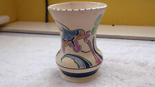 HONITON  SHAPED VASE WITH A HAND - PAINTED STYLISTIC FLORAL  PATTERN  P MONKTON