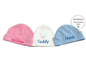 Personalised Baby Beanie Hat Unisex Girl Boy Baby Shower Gift Embroidered Name