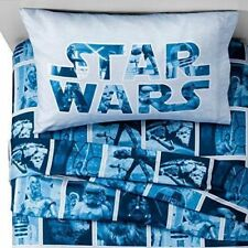 New Disney STAR WARS Twin Sheet Set ~ Star Wars Characters ~ Blue/White NIP