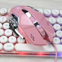 3200 DPI LED Optical 6 Button Gaming USB Wired Mouse Mice for PC Laptop Pink