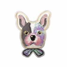 Sequin Dog Bow (Iron On)  Embroidery Applique Patch Sew Iron Badge