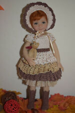 "Outfit for Dianna Effner Little Darling 13"" doll with gold bear"