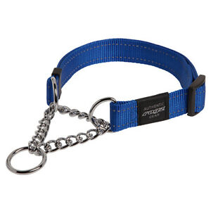 Rogz Dog Collar Obedience Half Check Utility Fanbelt - Large 16-22in - Blue