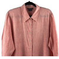 Land's End Women's 1X 100% Linen Shirt Tunic XL Top Pink Button Up 3/4 Sleeve