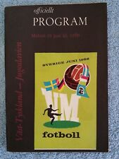 1958 - WEST GERMANY v YUGOSLAVIA PROGRAMME - WORLD CUP 58