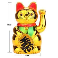 """6"""" Chinese Lucky Waving Golden Cat Figure with Moving Arm Wealth Decoration"""