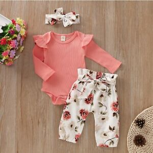 size 0-3m to 9-12 m baby girls clothes pink bodysuit, floral pants & headband