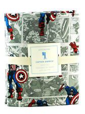 Pottery Barn Captain America Sheet Set Queen Sized Marvel Comics Bedding New