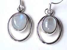 STERLING SILVER 20mm. HOOP EARRINGS with MOONSTONE CABOCHON STONES £16.95 NWT
