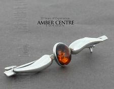 Alemán del Báltico ámbar Plata 925 Broche estilo Art Decor A Mano BD101 PVP £ 50!