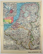 Original 1933 Map of Belgium & The Netherlands by Meyers.  Holland. Vintage