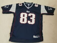 NEW ENGLAND PATRIOTS #83 WELKER REEBOK NFL FOOTBALL BLUE JERSEY MEN XL