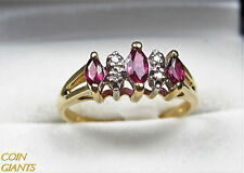 Estate Pink Sapphire 14k Yellow Gold Diamond Accent Ring Artist Signed Size 6.5