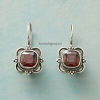 925 Sterling Silver Natural Garnet GemStone Handmade Stud Earring ZY1123