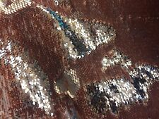 Mermaid Sequins Fabric Reversible 2 Way Stretch Silver & Brown By The Yard