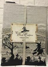 Witch Crafters Halloween Witch in Flight Bordered Tablecloth Script Cemetery 60""