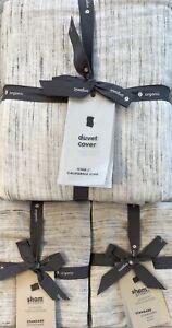 west elm washed melange jacquard king duvet & 2 standard shams