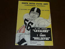 1958  I CORPS / 1ST CAVALRY DIVISION  FOOTBALL PROGRAM  PLAYED KOREA