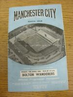 15/04/1960 Manchester City v Bolton Wanderers  (Creased, Folded, Worn, Marked).