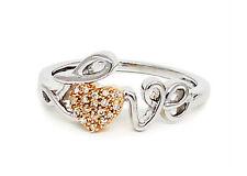 """10K White Gold """"Love"""" Ring 10K White Diamond Rose Gold Heart Cluster .05ct"""