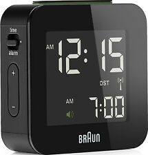 Réveil Quartz BRAUN Noir - Radio-Piloté - Interface LCD - BNC008BK-RC