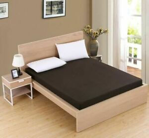1 Pc Solid color fitted sheet mattress cover with all-round elastic rubber