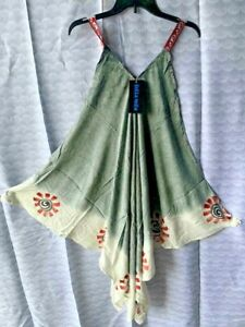ladies Women's HANKY HEM umbrella flare pullover sun dress  sale sage greeN MULT