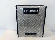 Steve Madden Queen Size 4pc Sheet Set Poly-Microber Gray-White Bed Sheet Set