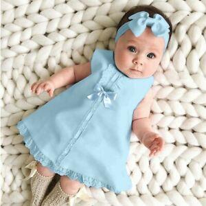 Newborn Infant Baby Kids Girl Solid Lace Short Sleeve Dress Bow Headband Set