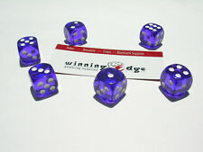 NEW 12 PURPLE ACRYLIC DICE 16MM FREE SHIPPING BUNCO YAHTZEE CRAPS DICE GAMES