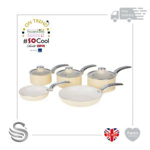 Swan Retro 5pc Fry/Saucepan Set Aluminium Non-Stick Ceramic Coating Soft Touch