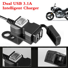 Waterproof Dual USB 12V Motorcycle Handlebar Charger Socket With Switch & Mounts