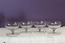 4 BELFOR BOHEMIA CRYSTAL FOOTED DESSERT DISHES WITH BLACK CORE STEM