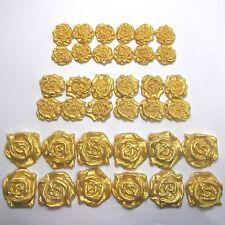36 Gold Pearl Roses edible golden wedding cake sugar decorations 25/30/45mm