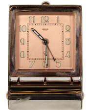 Jaeger LeCoultre Designer Manual Winding Clock, Travel Alarm, Art Decor, SWISS