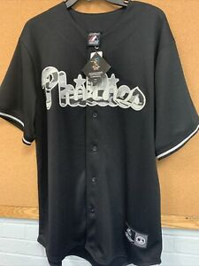 Majestic Mlb Dominic Brown Black Philadelphia Phillies Jersey NWT SZ L