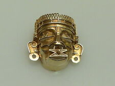 VINTAGE  AZTEC  STERLING  925 GOLDPLATED FACE MASK  BROOCH MEXICO BROSCHE AZTEKE