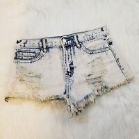 "Acid Wash Distressed Bootie Shorts 27"" Pockets Denim"