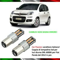 COPPIA LUCI DIURNE DRL 15 LED BAY15D P21/5W FIAT PANDA 2012 6000K CANBUS