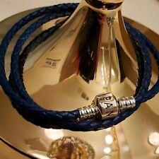 AUTHENTIC PANDORA BRACELET DOUBLE BRAIDED LEATHER BLUE 590705CSB-D 38CM/15IN