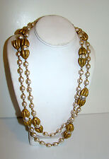 Very Long MIRIAM HASKELL Baroque Pearl Necklace 56 inches long!